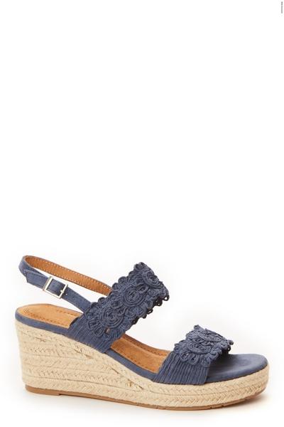 Blue Crochet Double Strap Wedges